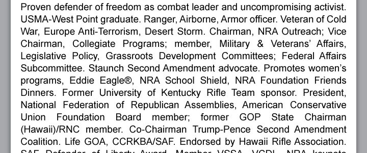 Bio for 2019 NRA election